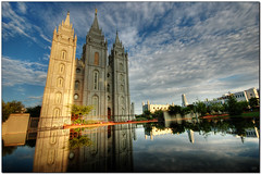LDS SLC Temple Morning Reflection - by Joe Y Jiang