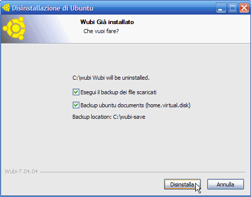 Fig. 11 - Installare Linux da Windows - Backup dei file