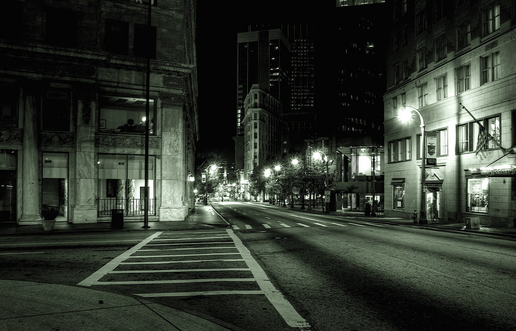 atlanta. night. empty street.