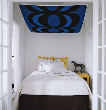 Ideas for small bedrooms: Abstract art canopy, Domino magazine