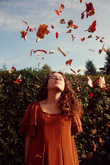 #6: Light Heartedness (oOTheSmallOneOo) Tags: autumn light portrait brown fall girl leaves leaf friend friendship best series easy throw letgo heartedness
