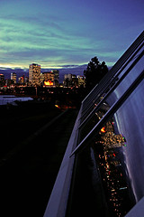 Edmonton. (ben giesbrecht) Tags: canada glass skyline night buildings reflections downtown cityscape edmonton alberta muttart telus