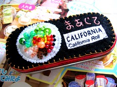 California Maki Sushi Roll Altered Altoids Tin Stuffed with Kawaii Stickers