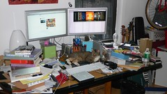 cat computer desk homeoffice chesterfield disorganisation... (Photo: revbean on Flickr)