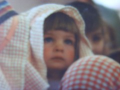 me aged three (nirE cigaM) Tags: christmas gabriel angel play shepherd lol fringe towel blow 1993 crushing nativity scars trauma teatowel psychological