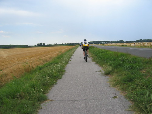 Fitz on the bike path just after crossing into Hungary