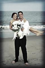 Happy Couple (retro) (Kerrie Lynn Photography (Sugaree_GD)) Tags: wedding sunset amanda beach de evening ryan ceremony barefoot delaware dewey sugareegd