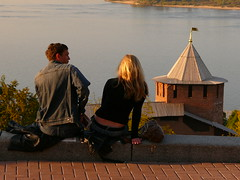 Couple overlooking the Volga and Kremlin (triangle_man) Tags: tower water river couple russia overlook volga kremlin nizhnynovgorod  nizhny nizhniynovgorod belaya