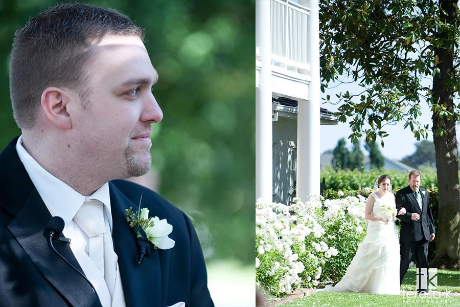 Groom watches bride approach, Grace vineyards wedding
