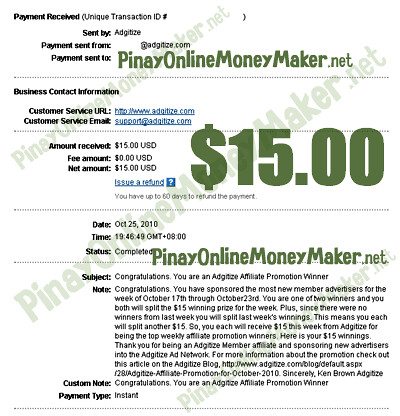Adgitize Proof of Prize as Affiliate Promo Winner - $15.00 on October 25, 2010 - PinayOnlineMoneyMaker.net