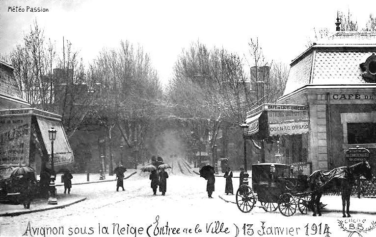 chute de neige à Avignon le 13 janvier 1914