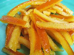 Orangettes (chocolate-covered candied orange peel)