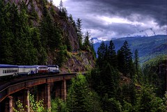 Whistler Mountaineer (Thad Roan - Bridgepix) Tags: railroad trestle bridge winter mountain canada ski vancouver clouds train whistler photo scenery bc britishcolumbia bridges rail railway canyon gorge olympics squamish soe railfan hdr lanscape coveredwagon bridging railfanning 200707 photomatix bridgepixing bridgepix cheakamuscanyon whistlermountaineer cooltrainpix trestle1southbound roll4photo255
