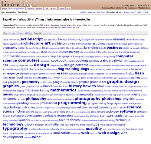 LibraryThing Tag Mirror / 20070826 / SML Screenshot
