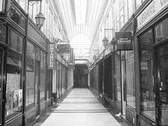 A deserted shopping arcade