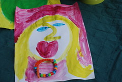 Leah's portrait of me and the bracelet she made for me