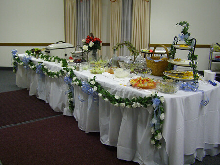 The buffet table after the wedding