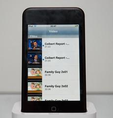 Een lijst met video's op de iPod Touch.