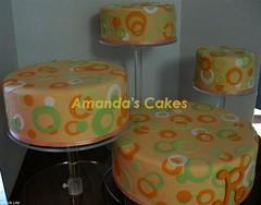 Robin Richardson's Retirement Cakes (mandotts) Tags: orange white green cake coral monogram circles polkadots r dots fondant sugarpaste retirementcake partycake
