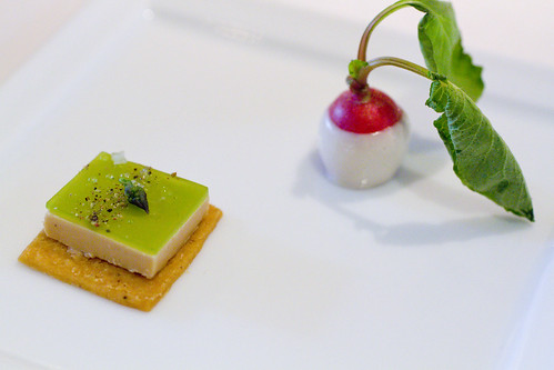 foie cracker and baby radish