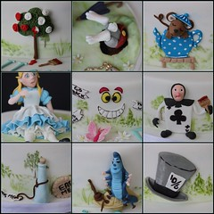 Alice in Wonderland cake ....... side details (abbietabbie) Tags: mushroom rose cake butterfly bottle bush alice label caterpillar biscuit tophat grin teapot hookah playingcard aliceinwonderland cheshirecat lewiscarroll whiterabbit fondant dormouse
