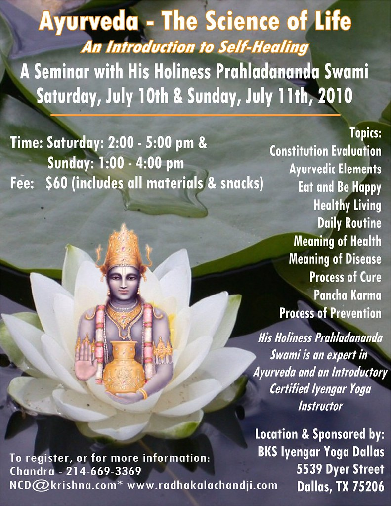 2010 Dallas Ayurveda Seminar Flyer