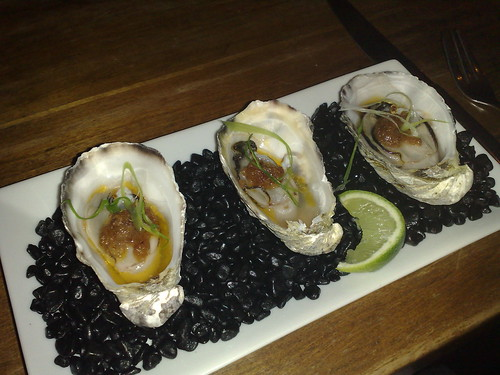 oysters, freshly shucked to order with house made XO sauce