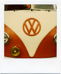 . (Rebecca...) Tags: uk orange bus film vw volkswagen polaroid cornwall camper polaroidsx70sonar 600filmwithblendfilter