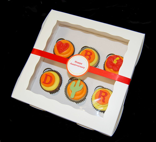 Anniversary Cupcakes - monogram, cactus, heart and hibiscus