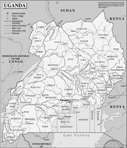 maps of uganda. Political map of Uganda