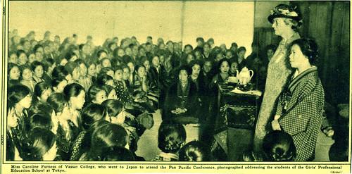 Caroline Furness addressing Japanese girls at the Girls Professional Education School in Tokyo, 1926