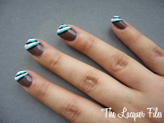 Turquoise Stripes Nail Art Design Striper H&M Love at First Sight OPI Over the Taupe H&M Turquise Kitty
