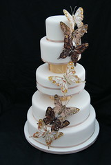 Cascading Butterfly Wedding Cake (Cakes by Occasion) Tags: wedding cake butterfly gold ivory butterflies whiteweddingcake 5tier 5tierweddingcake goldweddingcake butterflyweddingcake cakesbyoccasion