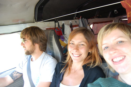 In the van on the way to Raglan