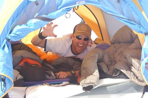 Andre on Tiedemann Glacier, bored?