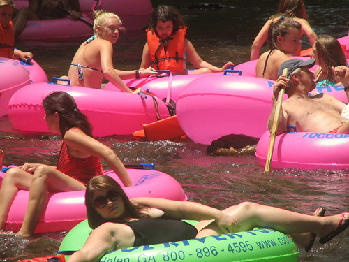 Water Tubing, Pink Tubes Ride Longer, Helen, Georgia