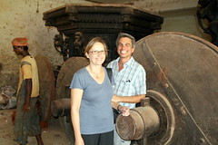 Cindy and Larry with Chariot at Shri Mangesh Temple
