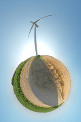 We are a wind powered planet (Matthew Field) Tags: shadow sun grass minnesota photo corn energy power stitch image wind earth farm stock clean planet electricity polar generation turbine spherical renewable planetoid moorhead wwwmattfieldcom