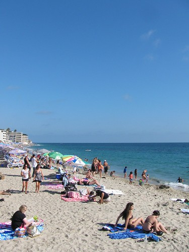 main beach. crowded.