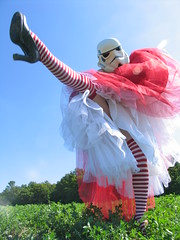 redandjonny: Red Dress (RedandJonny) Tags: red ontario canada stormtroopers caledonia reddress stripesocks redandjonny stormtroopersinlove crinolinepartydress stormtroopergirl