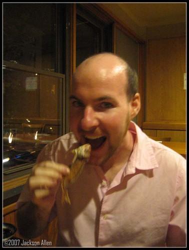 eating a fish head at Sushi Taro
