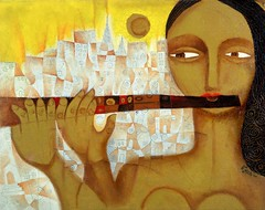 Girl Building a City (Paul N Grech) Tags: city urban music woman art girl painting creativity modernart jazz flute creation instrument oil classical cubist cubism paulgrech