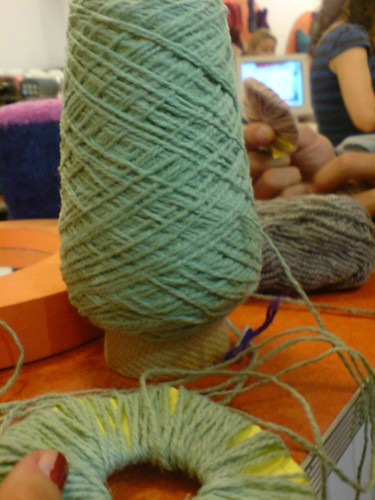 pompomming away at Knit Cafe