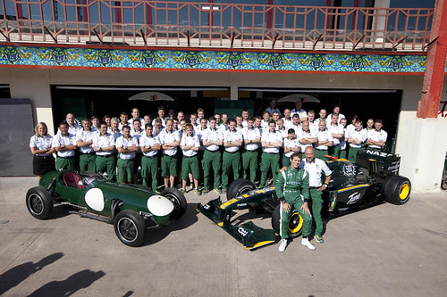 Team photo with the T127 and Lotus Type 12