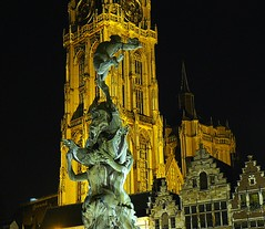 Antwerp landmark at night (jackfre2 (on a trip-voyage-reis-reise)) Tags: houses light tower church statue bronze buildings hand cathedral belgium spires style medieval antwerp brabo throw grotemarkt marketsquare flanders thegalaxy werpen olvcathedral mygearandmepremium
