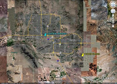 Queen Creek southeast of Phoenix (via Google Earth)