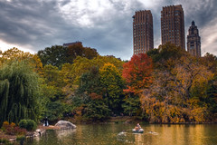Love is in the Autumn Air (mpb11) Tags: autumn wedding reflection fall groom bride boat pond centralpark couples foliage rowboat