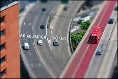 60 60 Tiltshift (Stevpas68) Tags: city bus cars traffic sydney overpass roadsigns speedlimit roads 60 roadway redbus tiltshift citytraffic