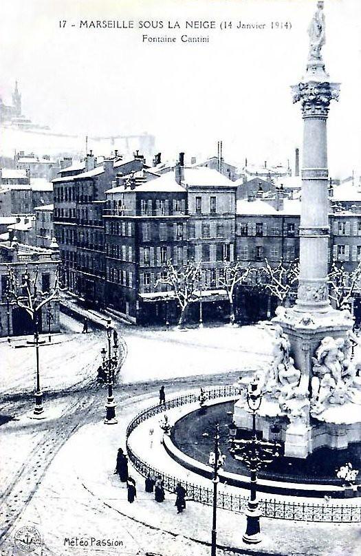 fontaine Cantini sous la neige à Marseille le 14 janvier 1914