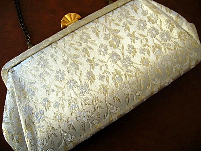 Vintage 1960s Ivory Gold Brocade Clutch by Kowgirl Kitsch on Etsy